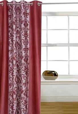 Shopcrats Polyester Multicolor Floral Rod pocket Window & Door Curtain