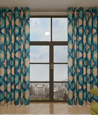 curtain Polyester Blue Printed Eyelet Window Curtain