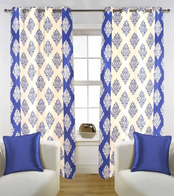 Kings Polycotton Blue Floral Tab Top Window Curtain