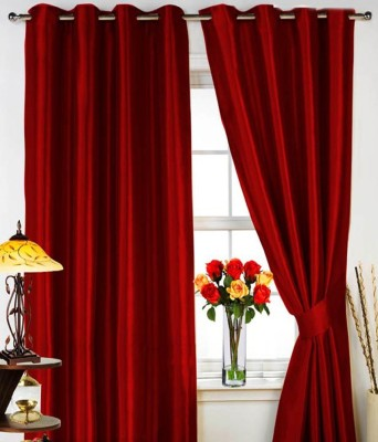 Sanaya Polyester Red Solid Eyelet Door Curtain