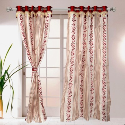 I Catch Blends Red Floral Curtain Door Curtain