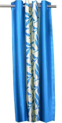 RedHot Polyester Blue Floral Eyelet Door Curtain