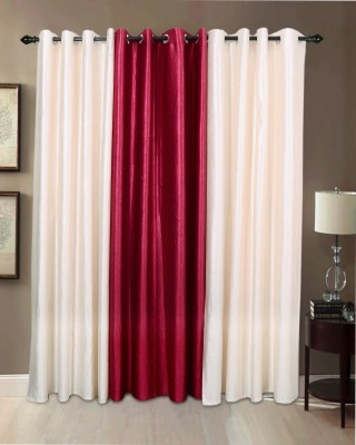 Jds Polyester Cream, Magenta Plain Ring Rod Door Curtain