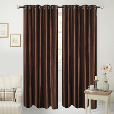 Yellow Weaves Polyester Brown Plain Curtain Door Curtain