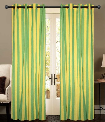 New Ladies Zone Cotton Green Striped Eyelet Door Curtain