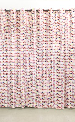 Kivadi Cotton Pink Printed Eyelet Long Door Curtain