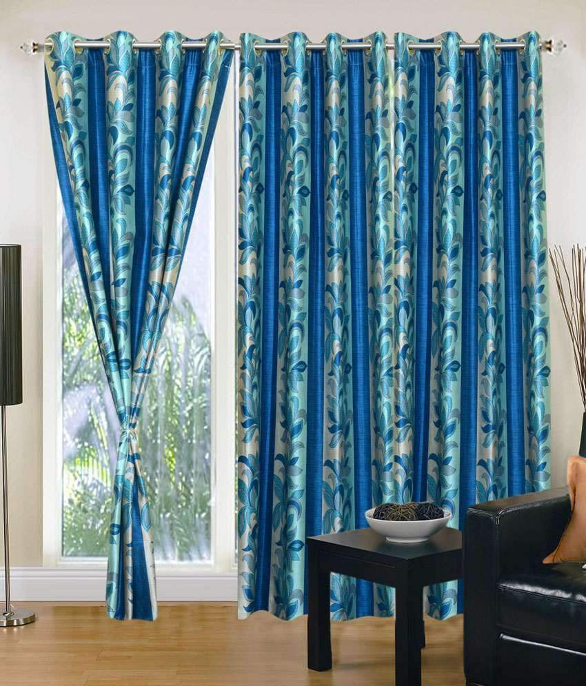 Optimistic Home Furnishing Polyester Blue Floral Eyelet Door Curtain