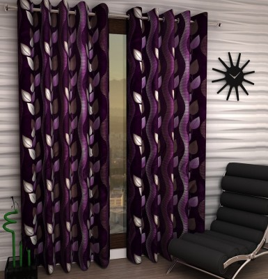 Home Fantasy Polyester Purple Floral Eyelet Window Curtain