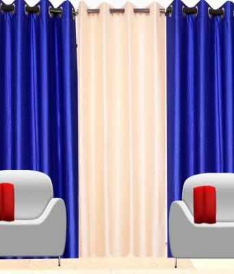 Shiv Shankar Handloom Polyester Multicolor Plain Eyelet Window Curtain