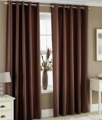 sajaawat Polyester Brown Plain Eyelet Long Door Curtain