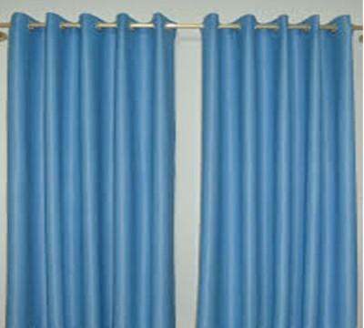 Style Maniac Polyester Blue Plain Eyelet Door Curtain