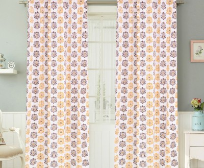 COLORS FOR LIVING Cotton Mustard, Brown Motif Concealed Tab Top Window Curtain