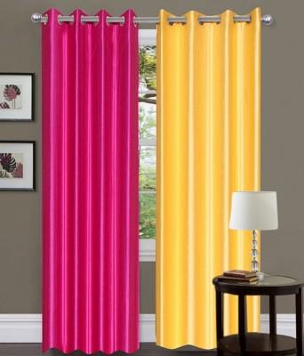 Fogg Polyester Pink, Beige Solid Eyelet Door Curtain