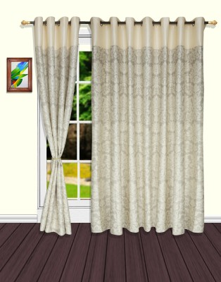 S9home by Seasons Polyester White, Grey Motif Eyelet Door Curtain