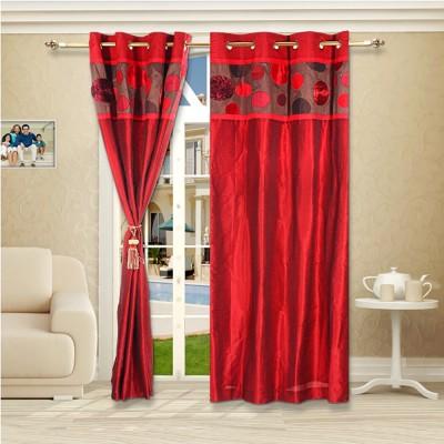 Eyda Polyester Red Abstract Eyelet Long Door Curtain