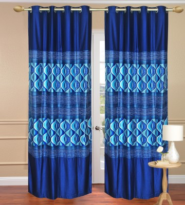 Daddyhomes Polyester Blue Solid Eyelet Door Curtain
