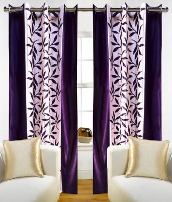 White Wave Polyester Purple Printed Eyelet Long Door Curtain