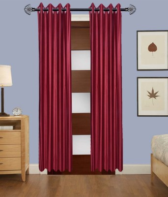ALAGH FASHIONS Polyester Maroon Plain Eyelet Door Curtain