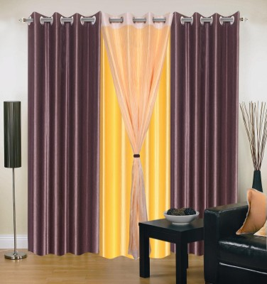 Homesazz Polyester Multicolor Plain Eyelet Door Curtain