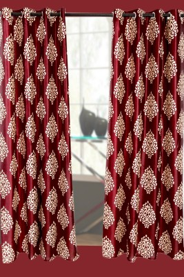 Jds Polyester Maroon Motif Ring Rod Door Curtain