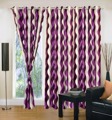 Excel Bazaar Polyester Purple Abstract Eyelet Door Curtain