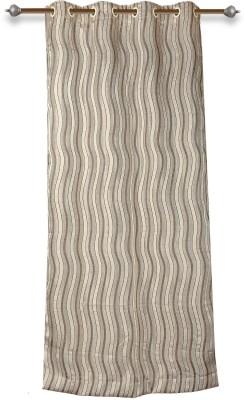 Mahamantra Polyester Beige Printed Eyelet Window Curtain