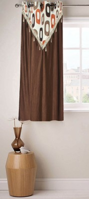 Fabutex Polyester Brown Abstract Eyelet Window Curtain