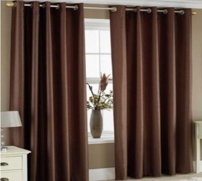 Style Maniac Polyester Brown Plain Eyelet Long Door Curtain