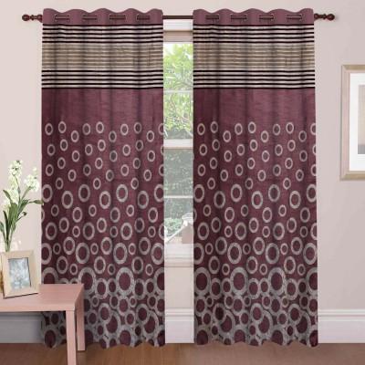 Mdf Curtains Polycotton Wine Geometric Eyelet Door Curtain