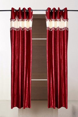the handloom store Polyester Maroon Self Design, Plain, Abstract Eyelet Door Curtain