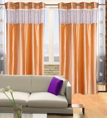 Parabdhani Fashion Polyester Beige Solid Ring Rod Door Curtain