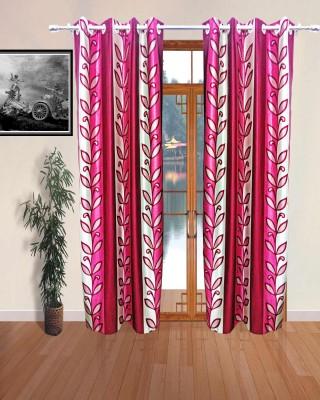 Sajawatt Polyester Pink Floral Eyelet Door Curtain
