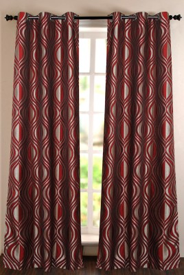 Deco Window Polyester Red Printed Eyelet Door Curtain