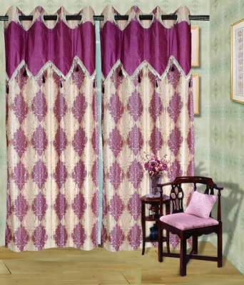 Madhav Product Polyester Purple Floral Eyelet Door Curtain
