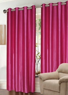 Madavs Polyester Pink Geometric Eyelet Window Curtain