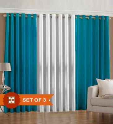 PHM Polyester Aqua, White Plain Eyelet Door Curtain
