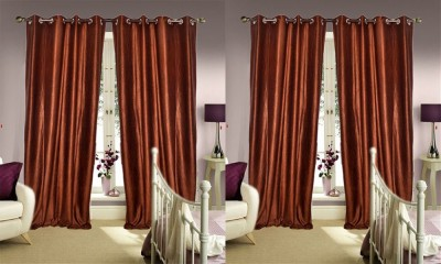 Jars Collections Polyester Brown Plain Eyelet Door Curtain