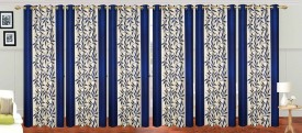 Stella Creations Polyester Blue Printed Curtain Door Curtain