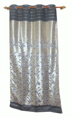 Aransa Polyester Golden Floral Rod pocket Door Curtain