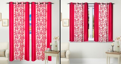 Fantasy Home Decor Polyester Pink Floral Eyelet Door Curtain