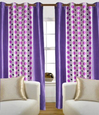 Madavs Polyester Purple Geometric Eyelet Door Curtain