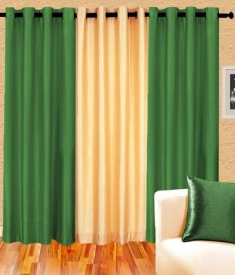 Daddu Enterprises Polyester Green, Beige Plain Eyelet Door Curtain