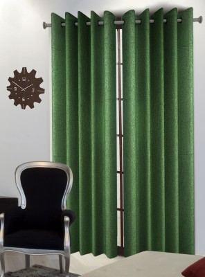 Home Blossoms Polyester Green Floral Eyelet Door Curtain