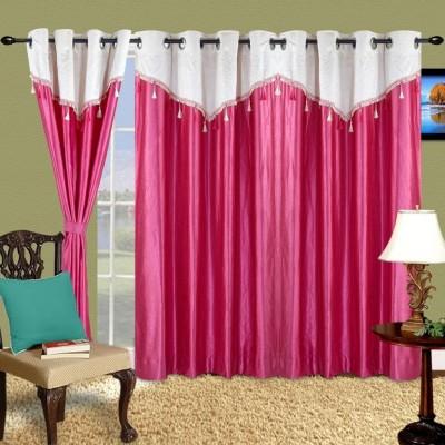 Cortina Polyester Pink Abstract Eyelet Long Door Curtain