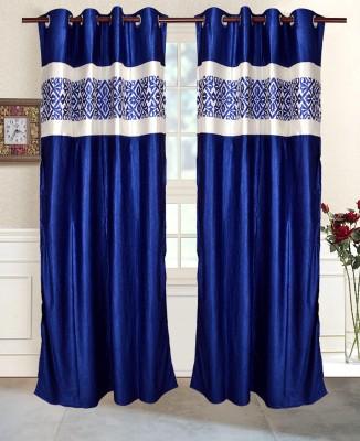 Maple Polyester Blue Geometric Eyelet Window & Door Curtain