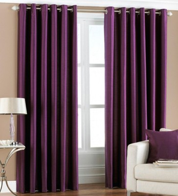 Homedecorhd Polyester Purple Solid Eyelet Door Curtain