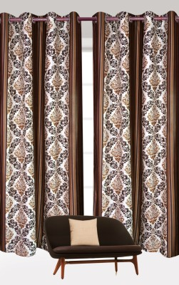 India Furnish Polyester Brown Floral Eyelet Door Curtain