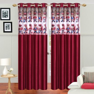 Azaani Polyester Multicolor Printed Eyelet Door Curtain