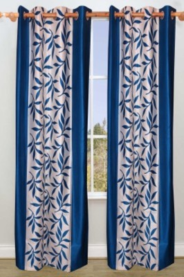 Big Onlineshop Polyester Blue Floral Eyelet Door Curtain