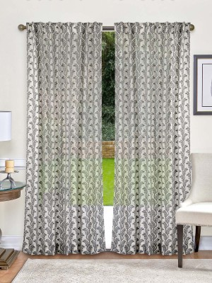 Indian Weave Cotton Cream and Grey Printed Curtain Window Curtain